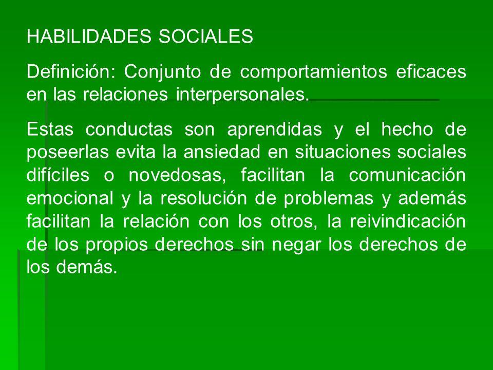 HABILIDADES SOCIALES Definición: Conjunto de comportamientos eficaces en las relaciones interpersonales.