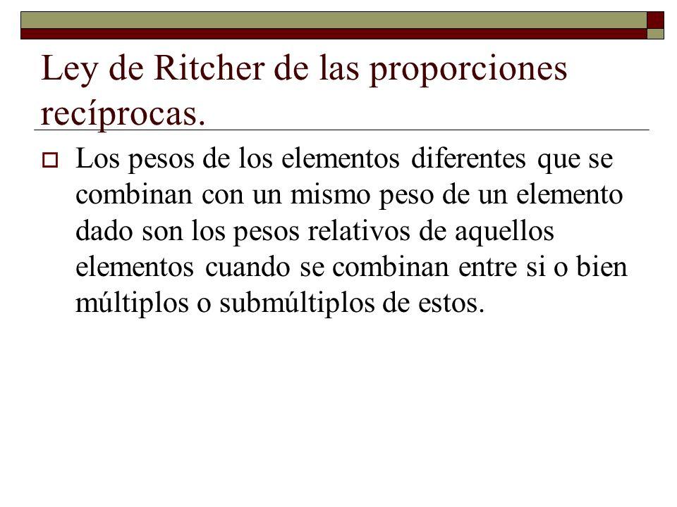 Ley de Ritcher de las proporciones recíprocas.