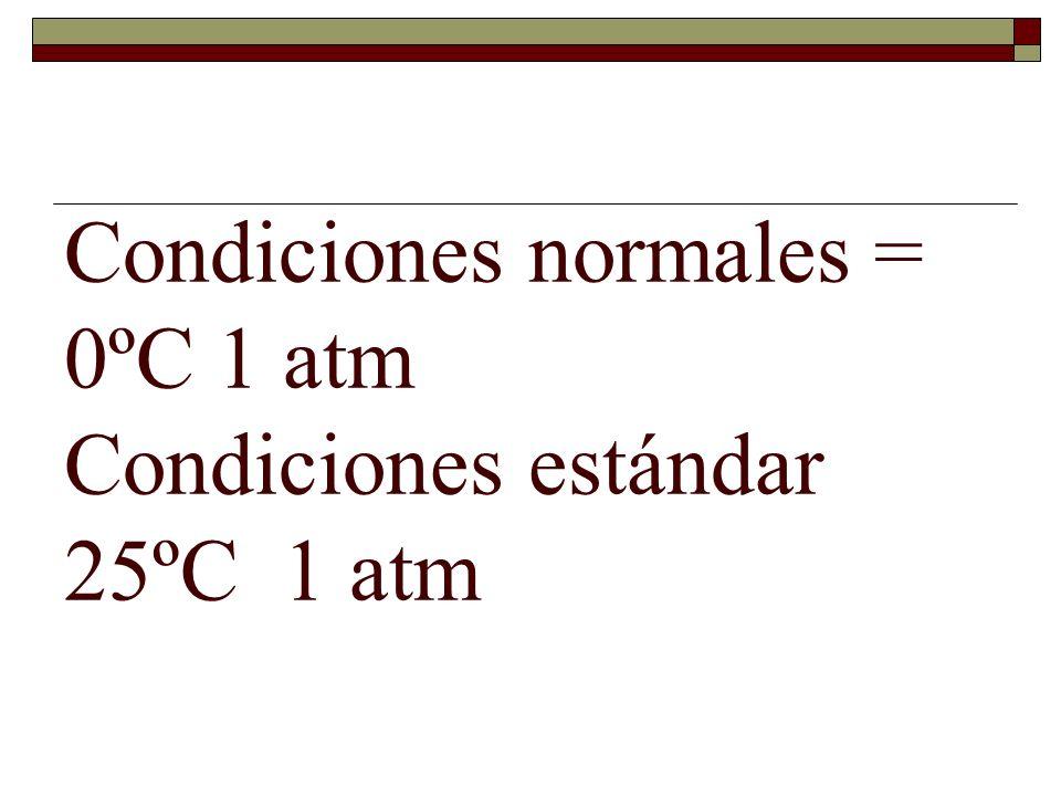 Condiciones normales = 0ºC 1 atm Condiciones estándar 25ºC 1 atm