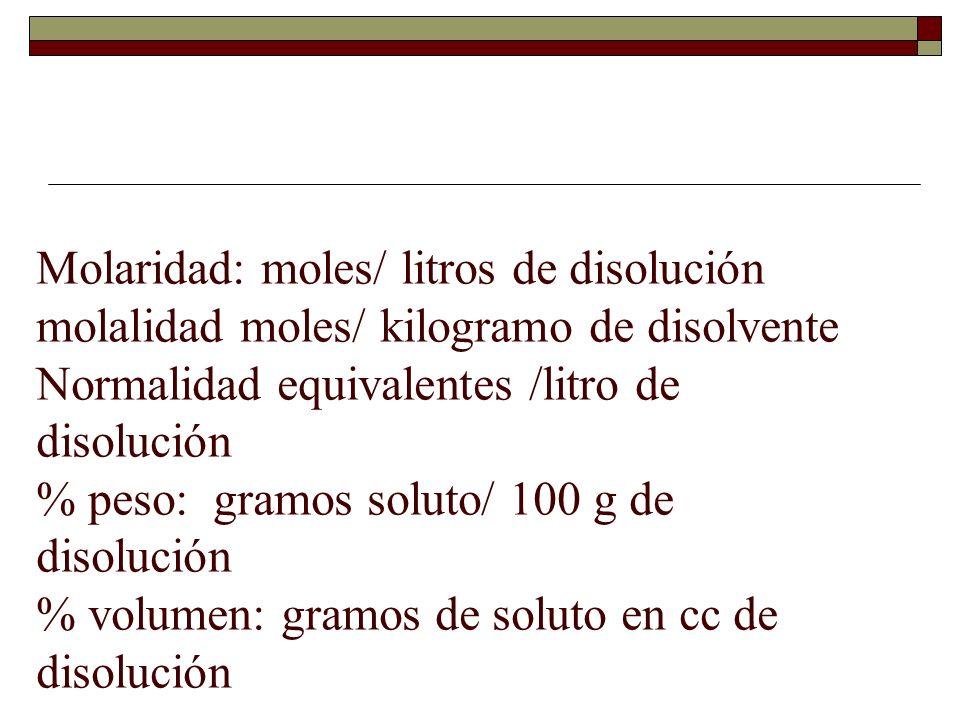 Molaridad: moles/ litros de disolución molalidad moles/ kilogramo de disolvente Normalidad equivalentes /litro de disolución % peso: gramos soluto/ 100 g de disolución % volumen: gramos de soluto en cc de disolución