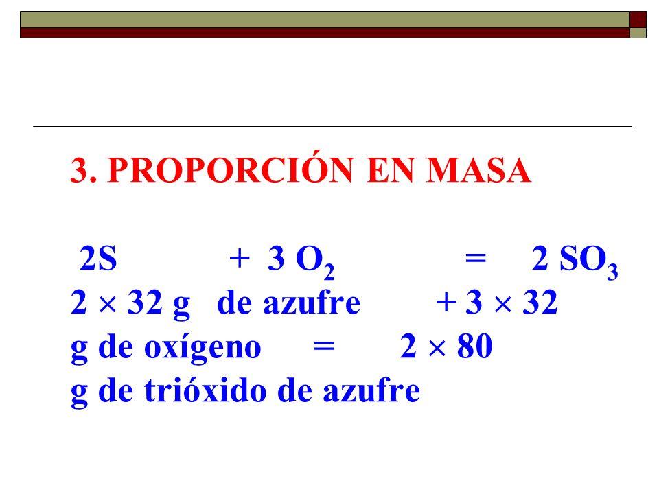 3. PROPORCIÓN EN MASA 2S. +. 3 O2. =. 2 SO3 2  32 g de azufre. +