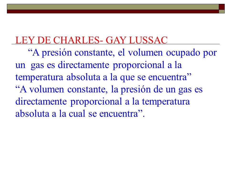 LEY DE CHARLES- GAY LUSSAC A presión constante, el volumen ocupado por un gas es directamente proporcional a la temperatura absoluta a la que se encuentra A volumen constante, la presión de un gas es directamente proporcional a la temperatura absoluta a la cual se encuentra .