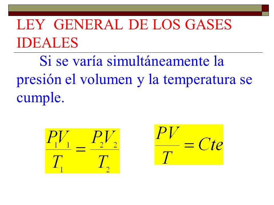 LEY GENERAL DE LOS GASES IDEALES Si se varía simultáneamente la presión el volumen y la temperatura se cumple.