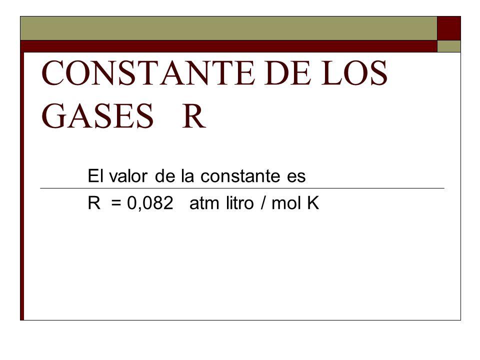 CONSTANTE DE LOS GASES R