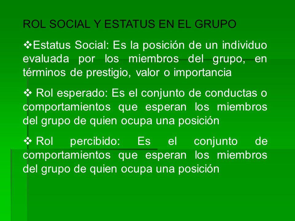 ROL SOCIAL Y ESTATUS EN EL GRUPO