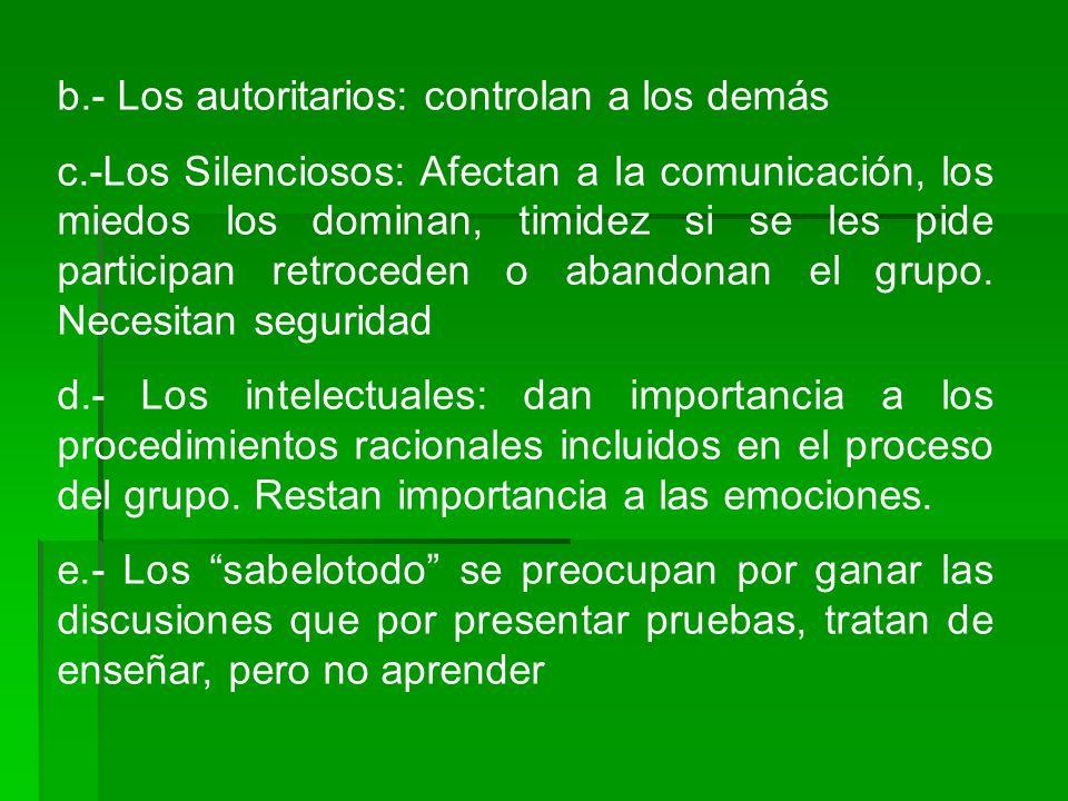 b.- Los autoritarios: controlan a los demás