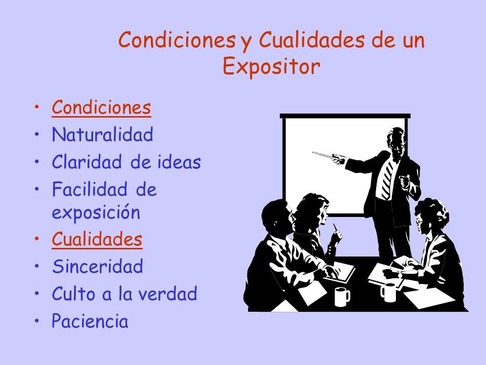 Condiciones y Cualidades de un Expositor