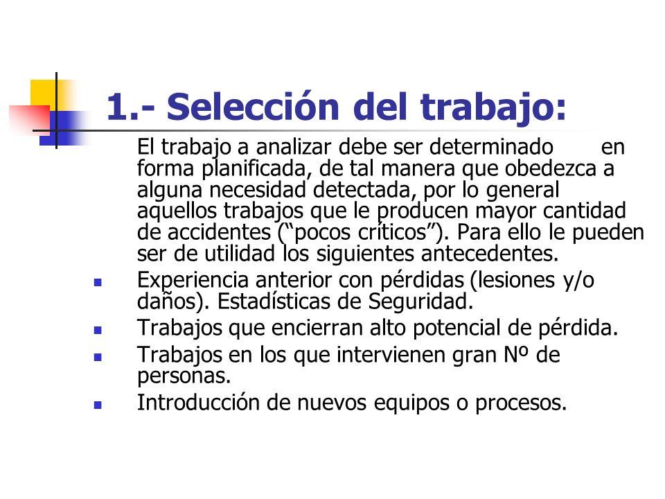1.- Selección del trabajo: