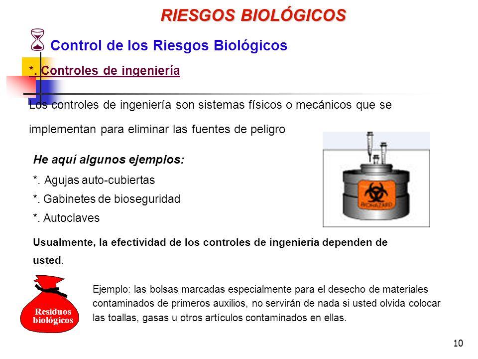RIESGOS BIOLÓGICOS Control de los Riesgos Biológicos