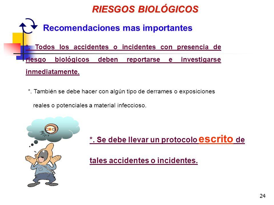 RIESGOS BIOLÓGICOS Recomendaciones mas importantes