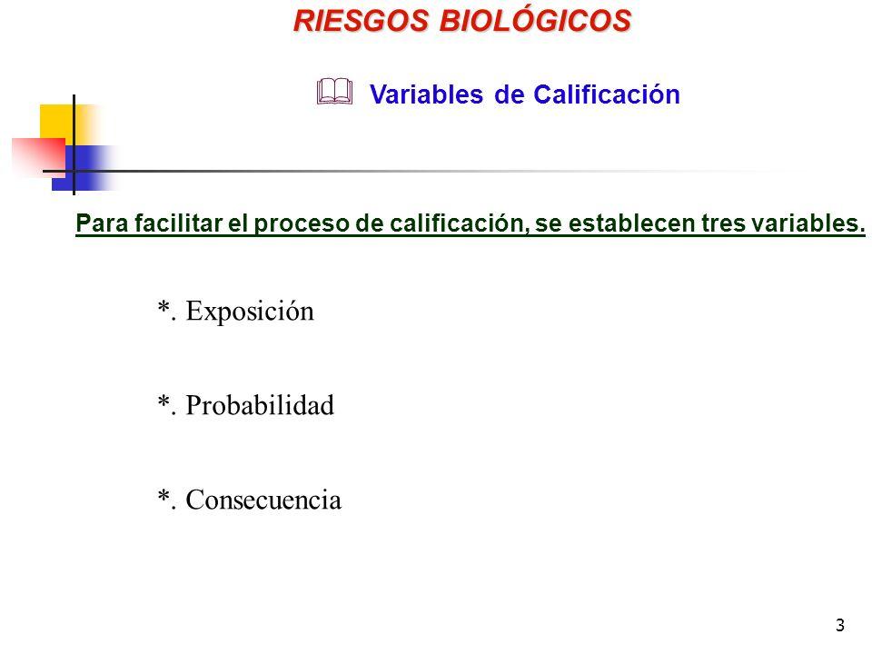 RIESGOS BIOLÓGICOS *. Exposición *. Probabilidad *. Consecuencia
