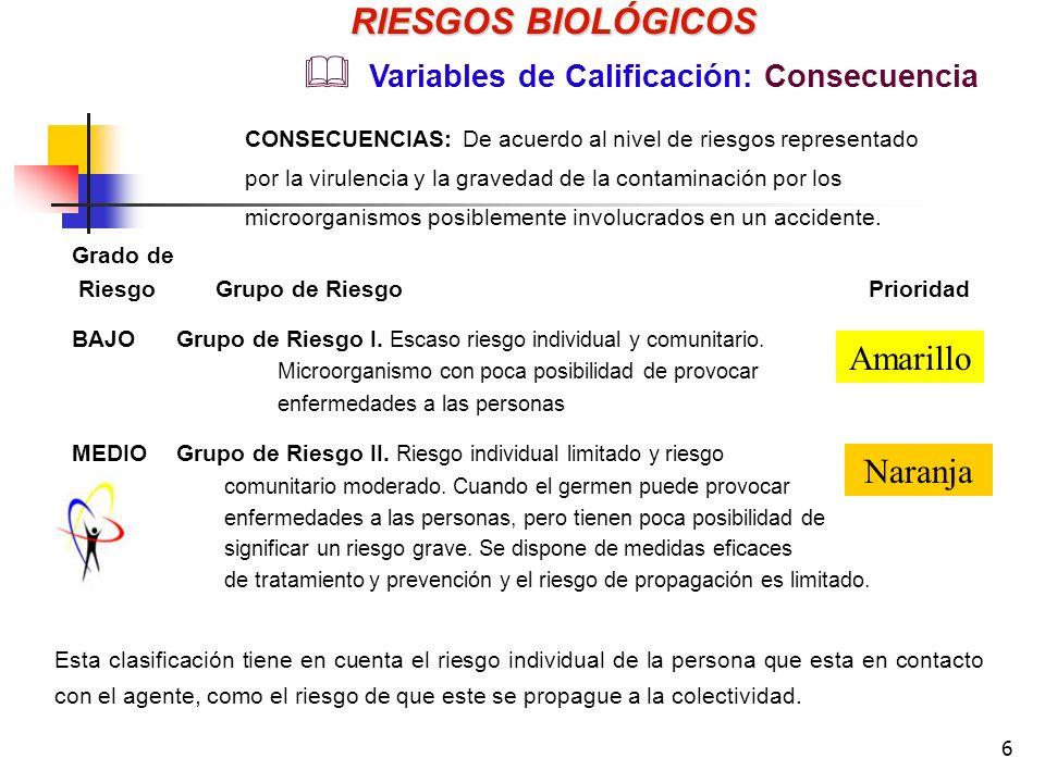 RIESGOS BIOLÓGICOS Amarillo Naranja