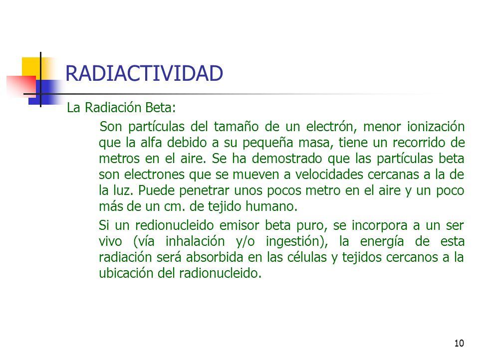 RADIACTIVIDAD La Radiación Beta: