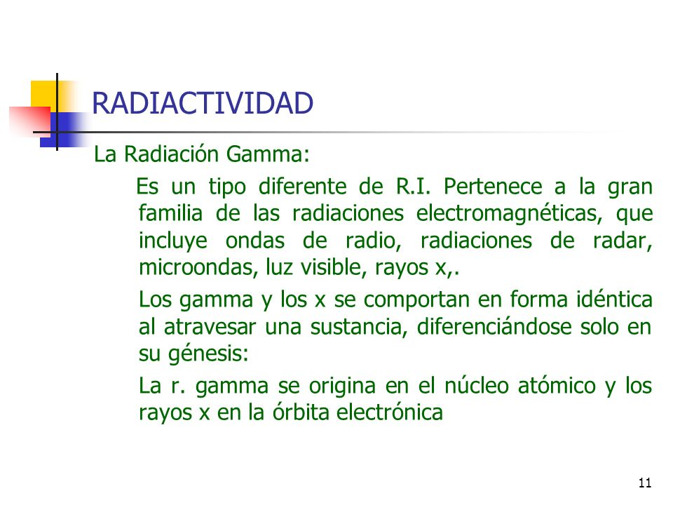 RADIACTIVIDAD La Radiación Gamma: