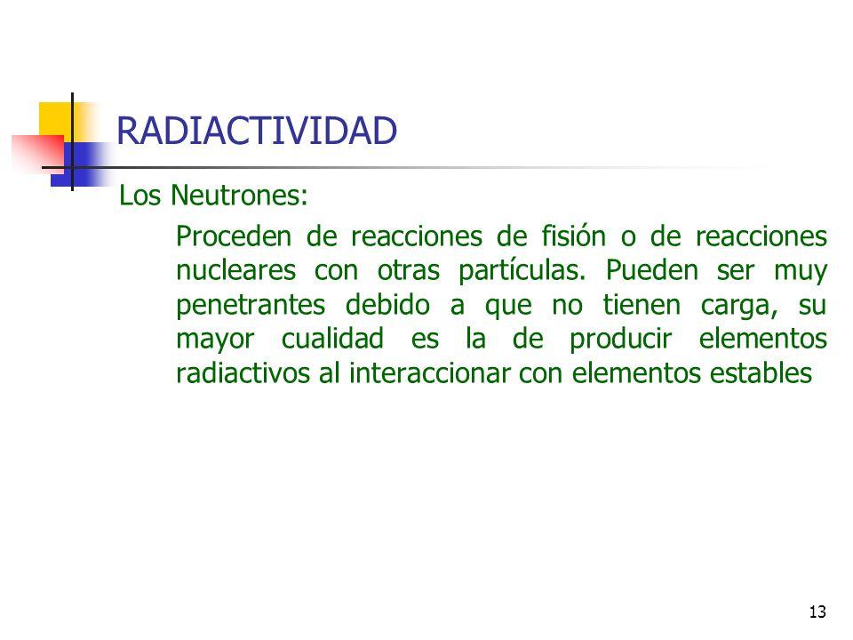 RADIACTIVIDAD Los Neutrones: