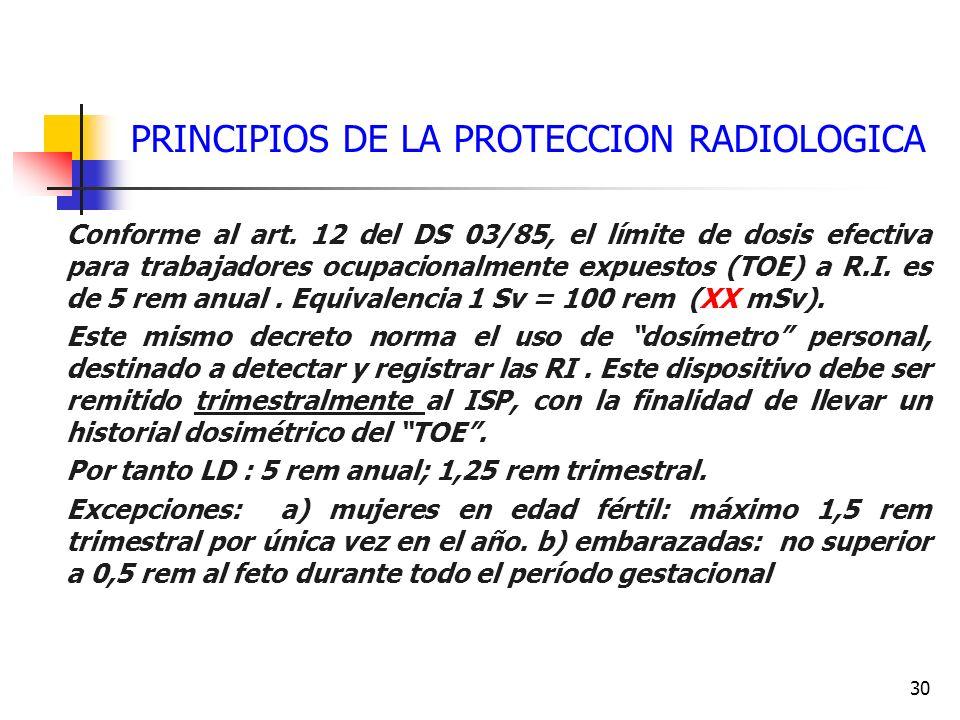 PRINCIPIOS DE LA PROTECCION RADIOLOGICA