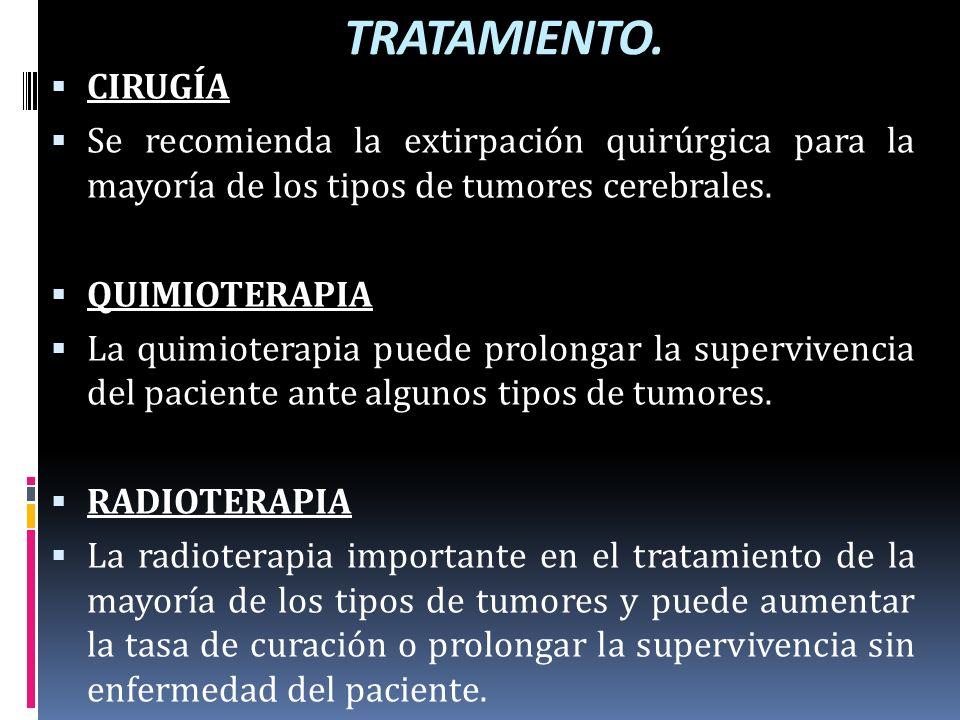 TRATAMIENTO. CIRUGÍA. Se recomienda la extirpación quirúrgica para la mayoría de los tipos de tumores cerebrales.