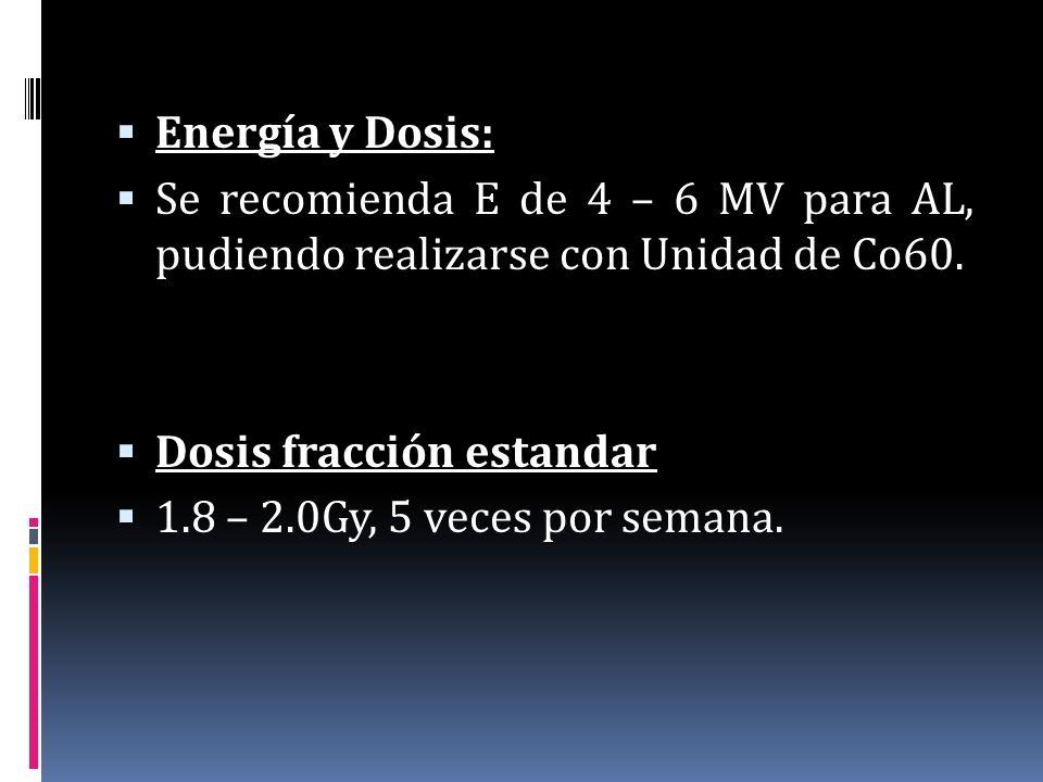 Energía y Dosis: Se recomienda E de 4 – 6 MV para AL, pudiendo realizarse con Unidad de Co60. Dosis fracción estandar.