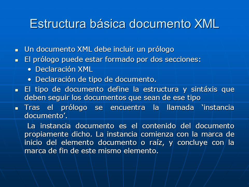 Estructura básica documento XML