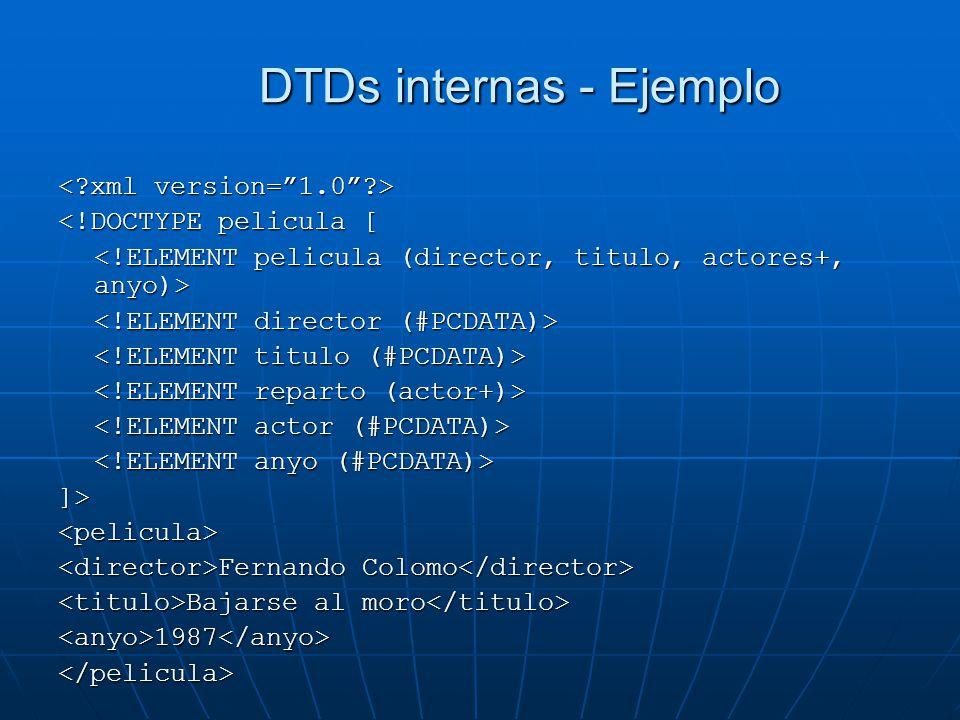 DTDs internas - Ejemplo