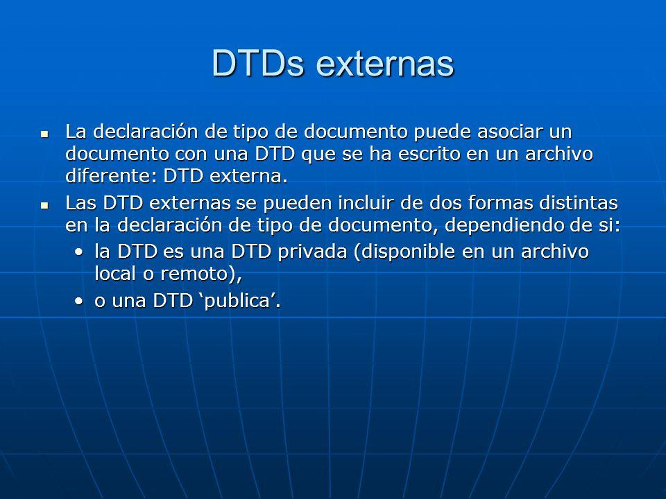 DTDs externas La declaración de tipo de documento puede asociar un documento con una DTD que se ha escrito en un archivo diferente: DTD externa.