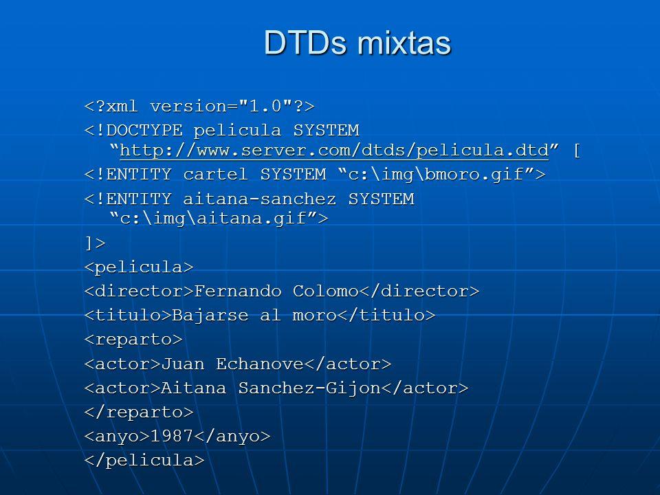 DTDs mixtas < xml version= 1.0 >