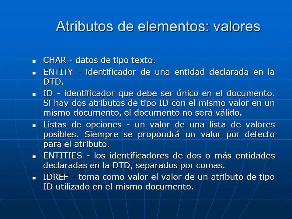 Atributos de elementos: valores