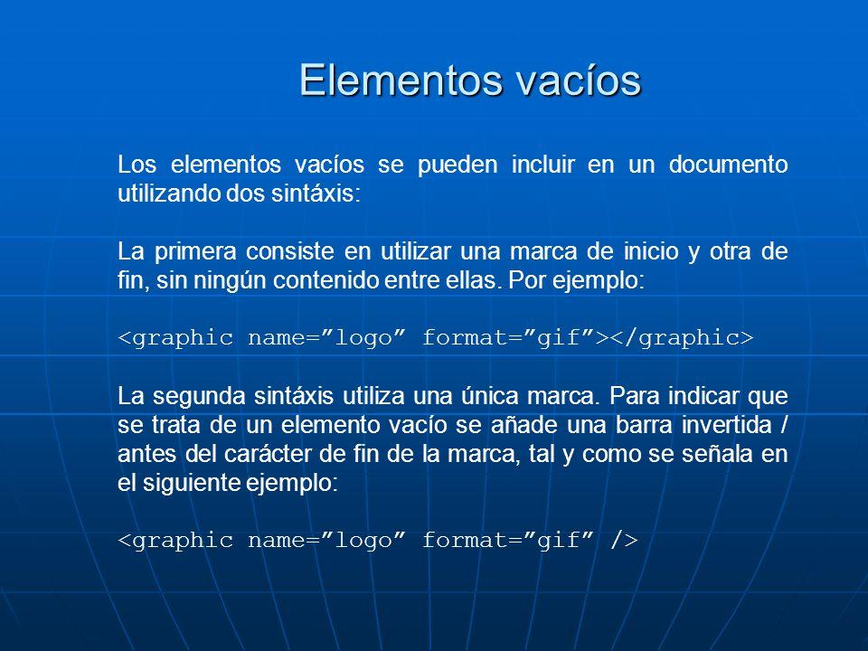Elementos vacíos Los elementos vacíos se pueden incluir en un documento utilizando dos sintáxis: