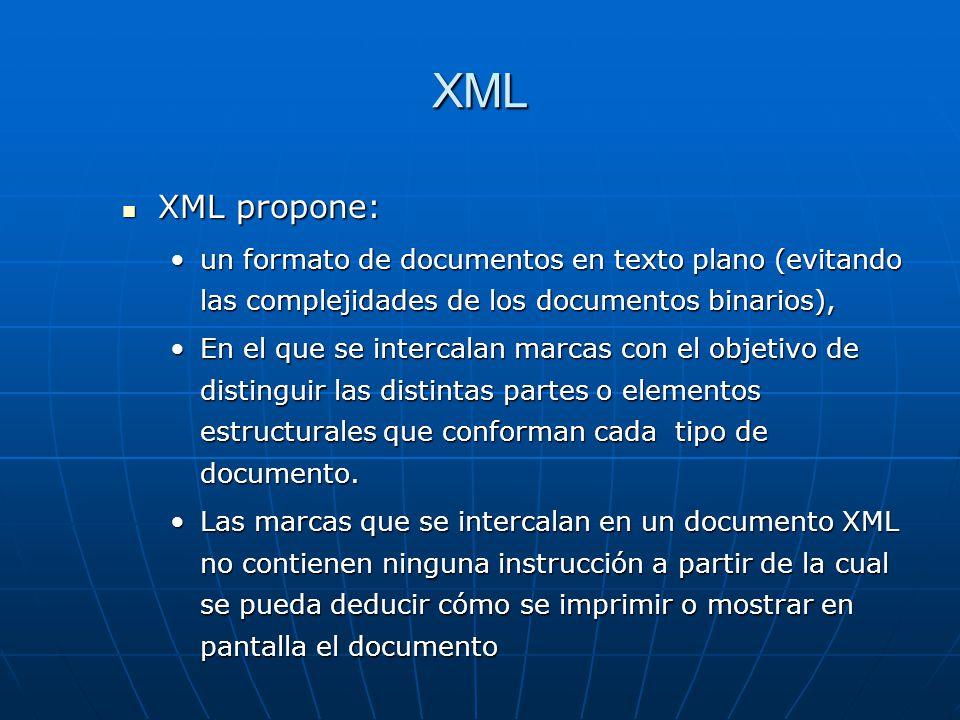 XML XML propone: un formato de documentos en texto plano (evitando las complejidades de los documentos binarios),