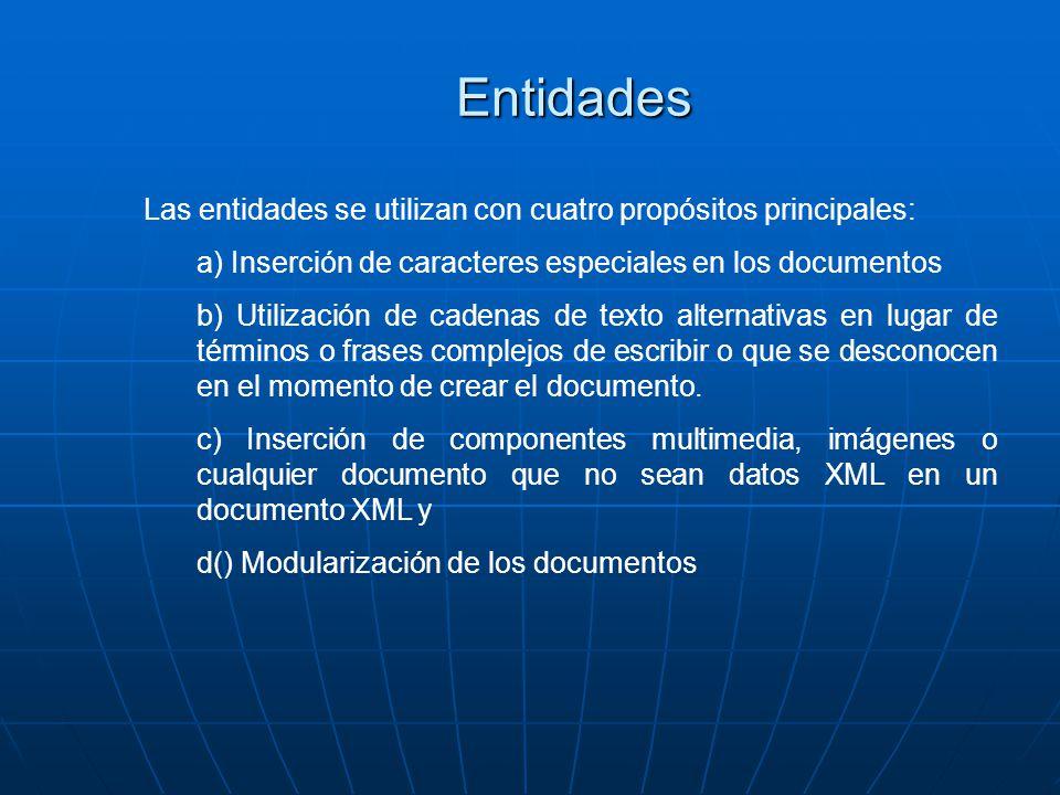Entidades Las entidades se utilizan con cuatro propósitos principales: