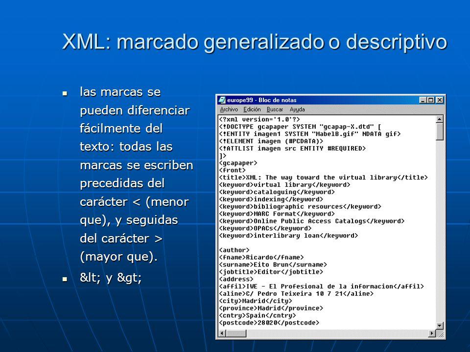 XML: marcado generalizado o descriptivo