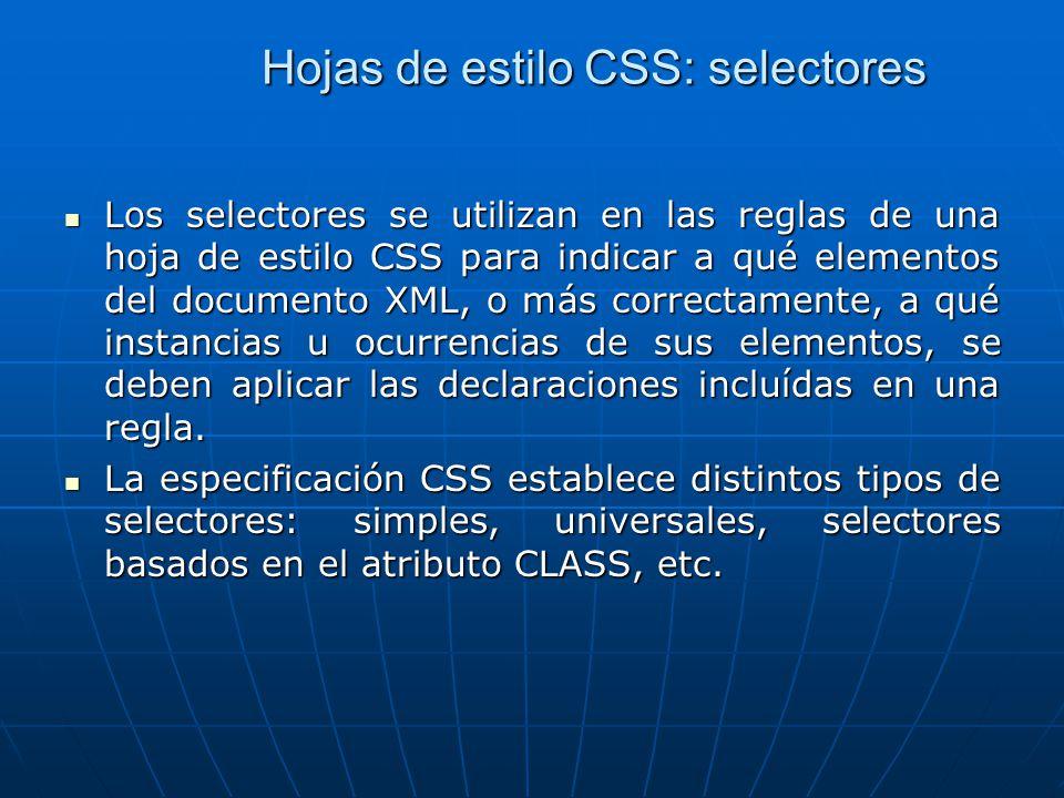 Hojas de estilo CSS: selectores