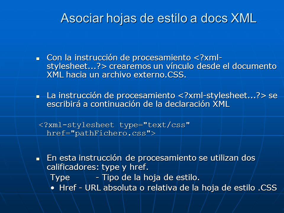 Asociar hojas de estilo a docs XML