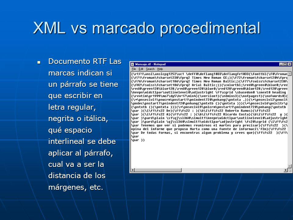 XML vs marcado procedimental