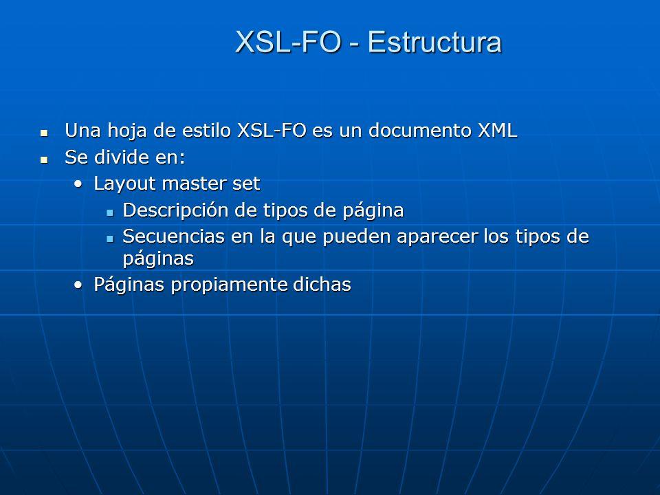 XSL-FO - Estructura Una hoja de estilo XSL-FO es un documento XML