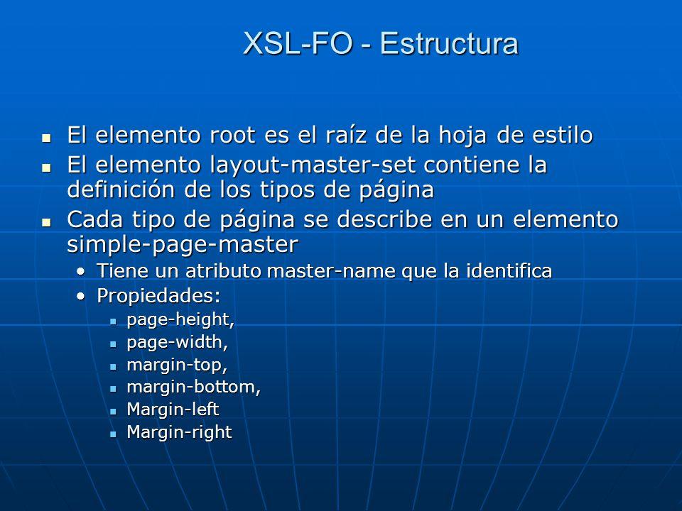 XSL-FO - Estructura El elemento root es el raíz de la hoja de estilo