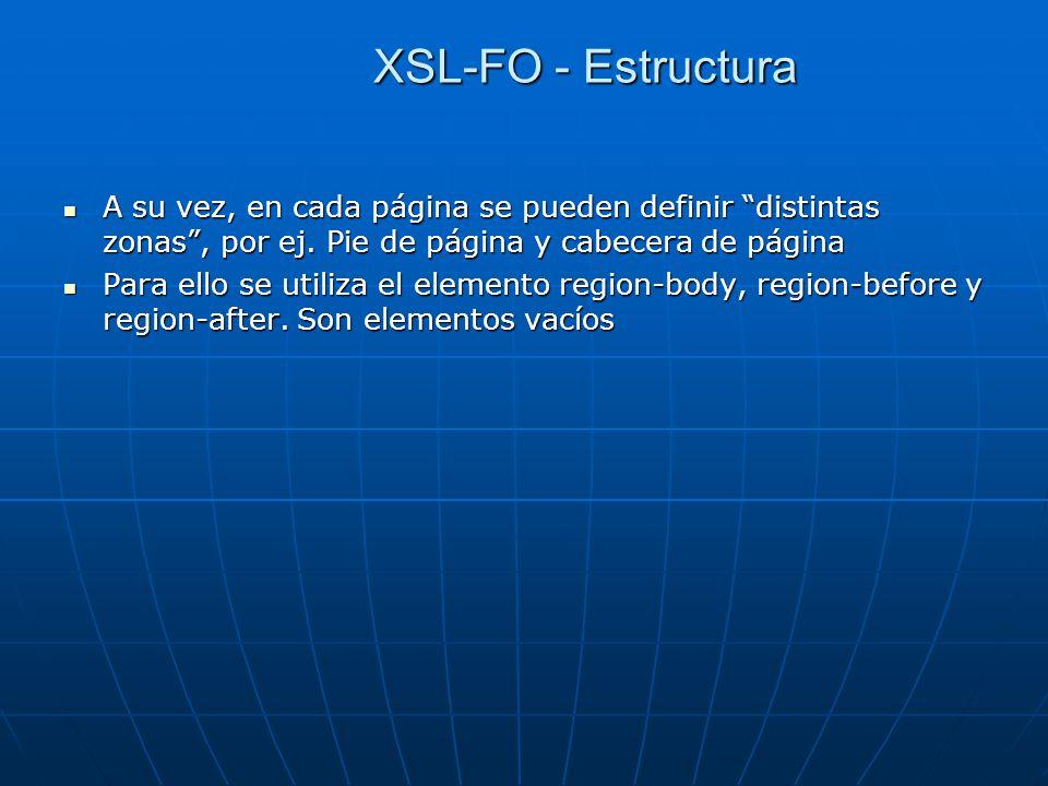 XSL-FO - Estructura A su vez, en cada página se pueden definir distintas zonas , por ej. Pie de página y cabecera de página.