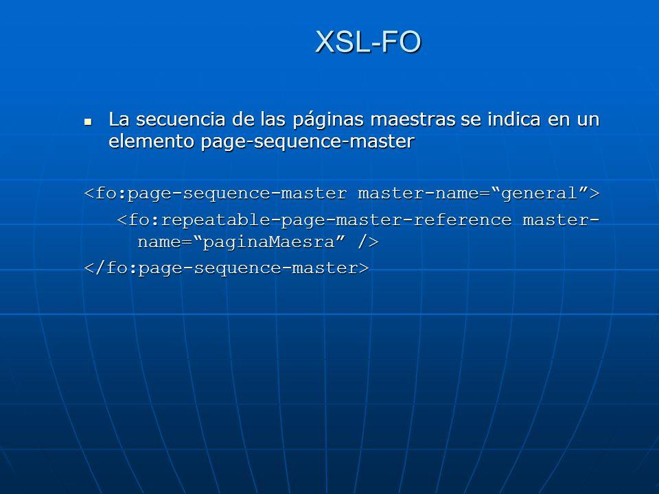 XSL-FO La secuencia de las páginas maestras se indica en un elemento page-sequence-master. <fo:page-sequence-master master-name= general >