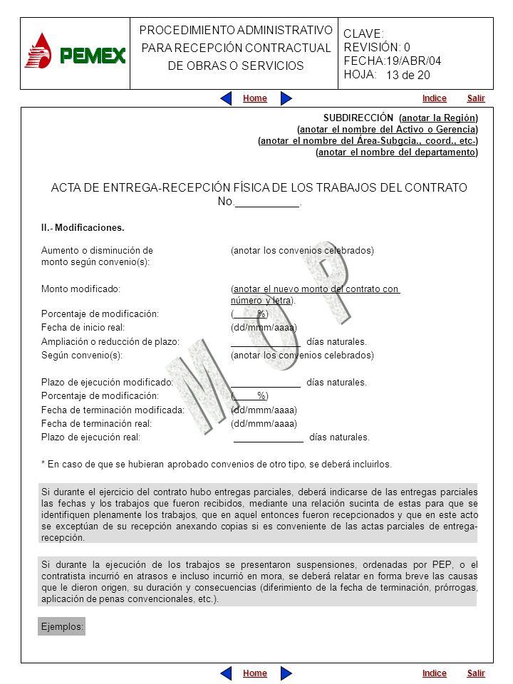 13 de 20 SUBDIRECCIÓN (anotar la Región) (anotar el nombre del Activo o Gerencia) (anotar el nombre del Área-Subgcia., coord., etc-)