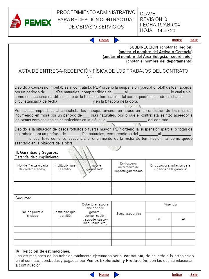 14 de 20 SUBDIRECCIÓN (anotar la Región) (anotar el nombre del Activo o Gerencia) (anotar el nombre del Área-Subgcia., coord., etc-)