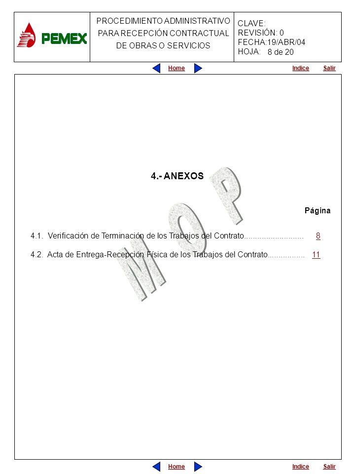 8 de 20 4.- ANEXOS. Página. 4.1. Verificación de Terminación de los Trabajos del Contrato........................... 8.