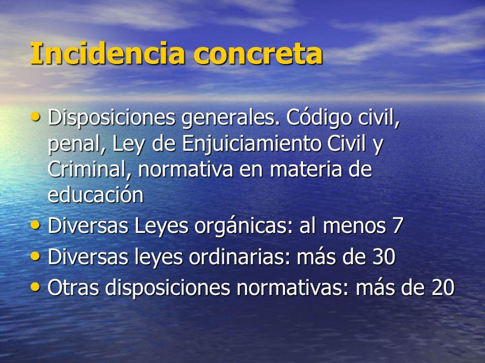 Incidencia concreta Disposiciones generales. Código civil, penal, Ley de Enjuiciamiento Civil y Criminal, normativa en materia de educación.