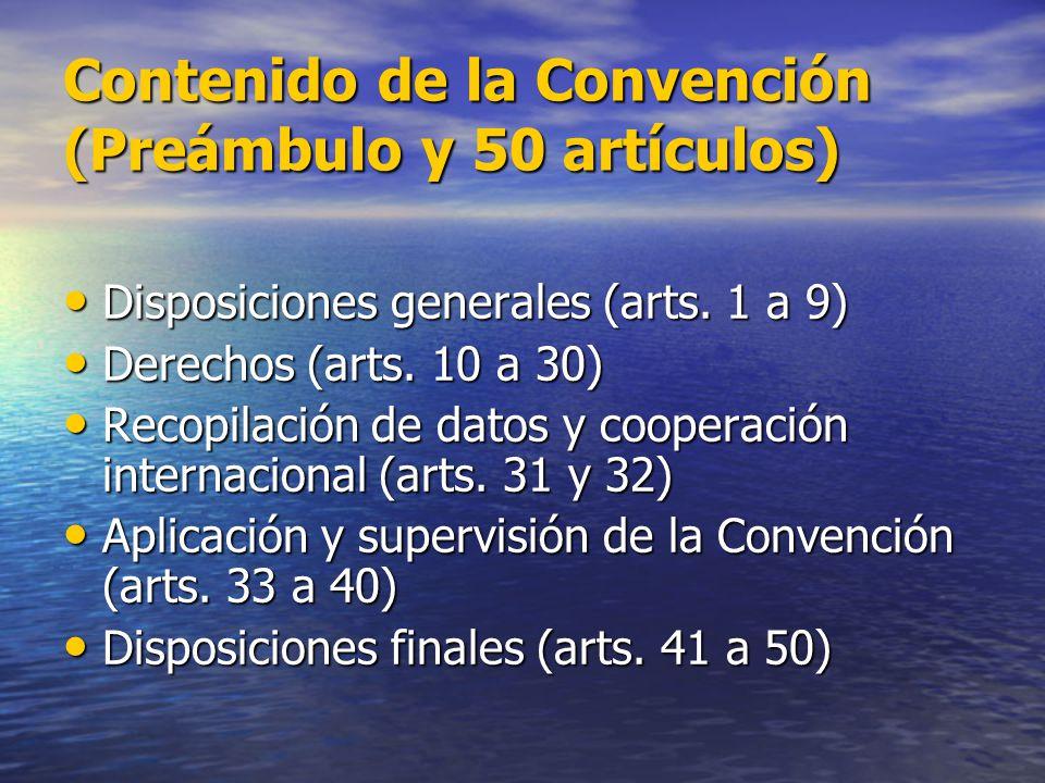 Contenido de la Convención (Preámbulo y 50 artículos)