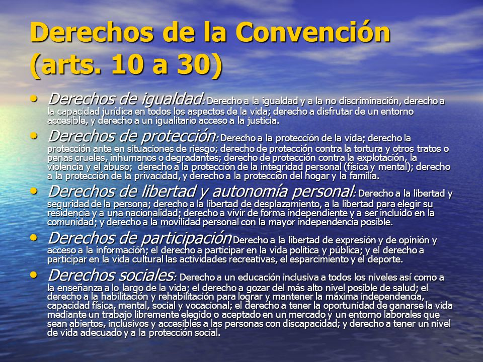 Derechos de la Convención (arts. 10 a 30)