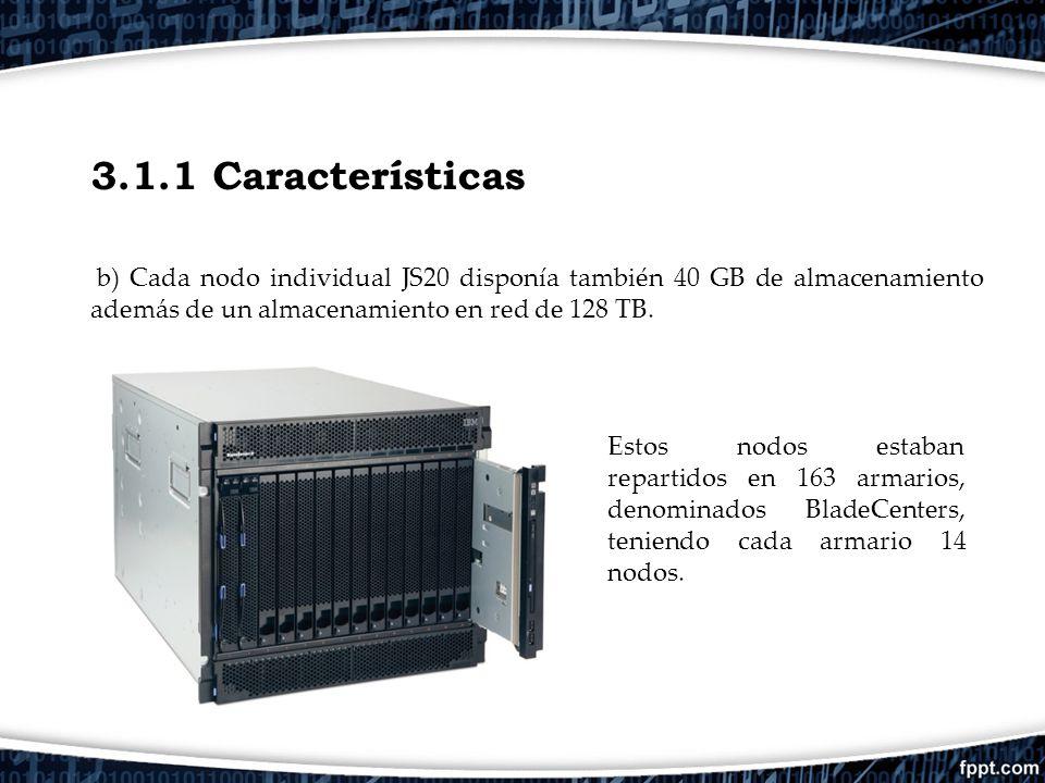 3.1.1 Características b) Cada nodo individual JS20 disponía también 40 GB de almacenamiento además de un almacenamiento en red de 128 TB.