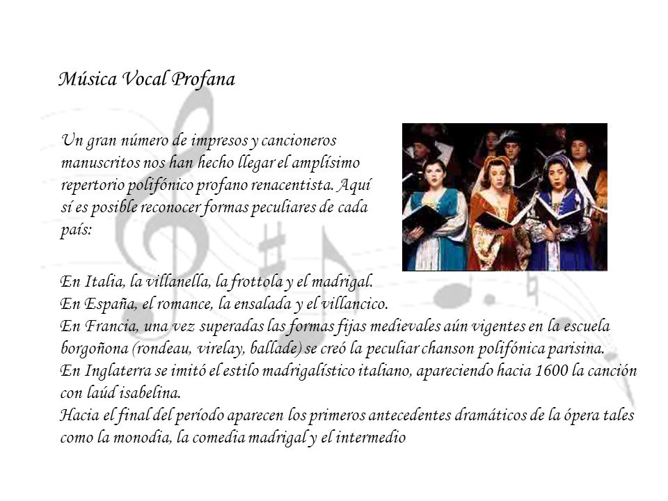 Música Vocal Profana