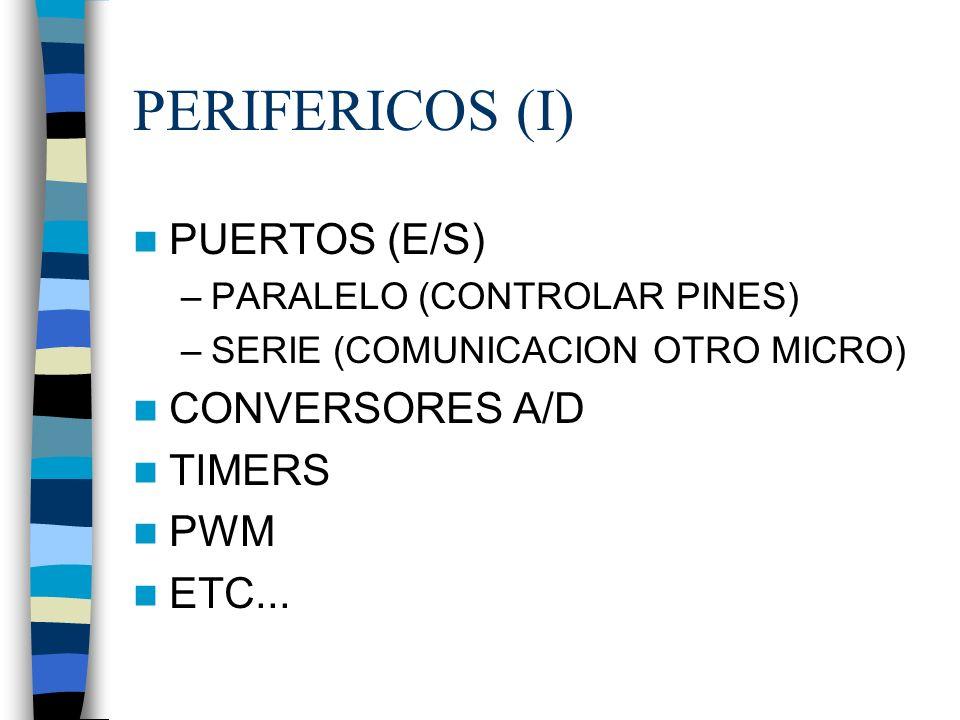 PERIFERICOS (I) PUERTOS (E/S) CONVERSORES A/D TIMERS PWM ETC...