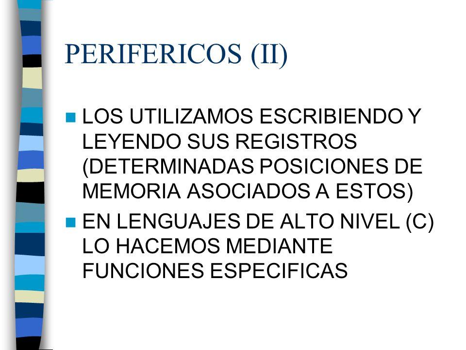 PERIFERICOS (II) LOS UTILIZAMOS ESCRIBIENDO Y LEYENDO SUS REGISTROS (DETERMINADAS POSICIONES DE MEMORIA ASOCIADOS A ESTOS)