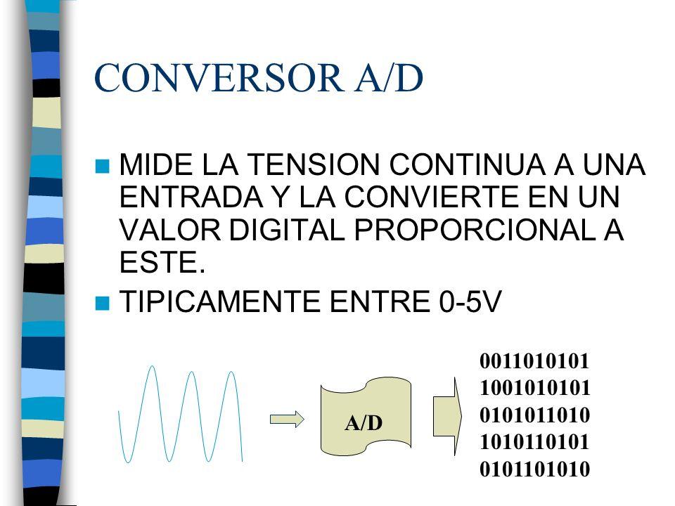 CONVERSOR A/D MIDE LA TENSION CONTINUA A UNA ENTRADA Y LA CONVIERTE EN UN VALOR DIGITAL PROPORCIONAL A ESTE.