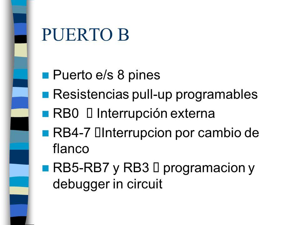 PUERTO B Puerto e/s 8 pines Resistencias pull-up programables